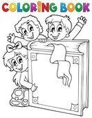Omalovánky děti téma 3 — Stock vektor