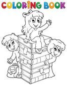 Coloring book kids theme 4 — Stock Vector