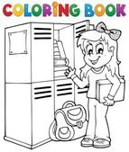 Colorear temas escuela libro 5 — Vector de stock