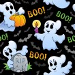 图库矢量图片: Halloween seamless background 4