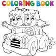 Coloring book car theme 1 — Stockvectorbeeld