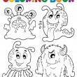 Coloring book monster theme 1 — Stock Vector
