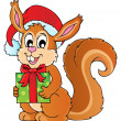 Christmas theme squirrel image 1 — Stock Vector