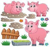 Collection de thème porcs 1 — Vecteur