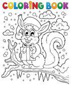 Coloring book Christmas squirrel 1 — Stock Vector