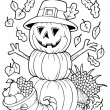 coloring book thanksgiving image 4 — Stock Vector