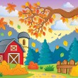 Stock Vector: Autumn theme landscape 1