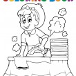 Coloring book with housewife 1 — Stock Vector #32445755