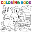 Coloring book pig theme 2 — Stock Vector #32446013