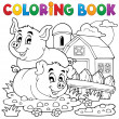 Coloring book pig theme 2 — Stock Vector