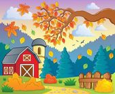 Autumn theme landscape 1 — Stock Vector