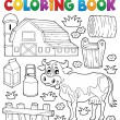 Coloring book cow theme 1 — Stock vektor