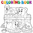 coloring book pig theme 3 — Stock Vector