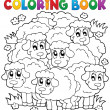 Coloring book sheep theme 2 — Vecteur #33499869