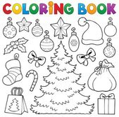 Coloring book Christmas decor 1 — Stock Vector