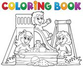 Coloring book playground theme 1 — Stock Vector