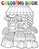 Coloring book farmer theme 2 — Stock Vector
