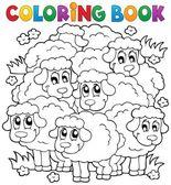 Kolorowanie książki owiec motywu 2 — Wektor stockowy