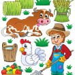 Farmer theme set 1 — Stock Vector