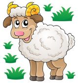Happy cartoon ram — Vector de stock