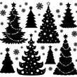 Stock Vector: Christmas tree silhouette theme 1