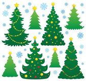Vánoční stromeček silueta téma 9 — Stock vektor