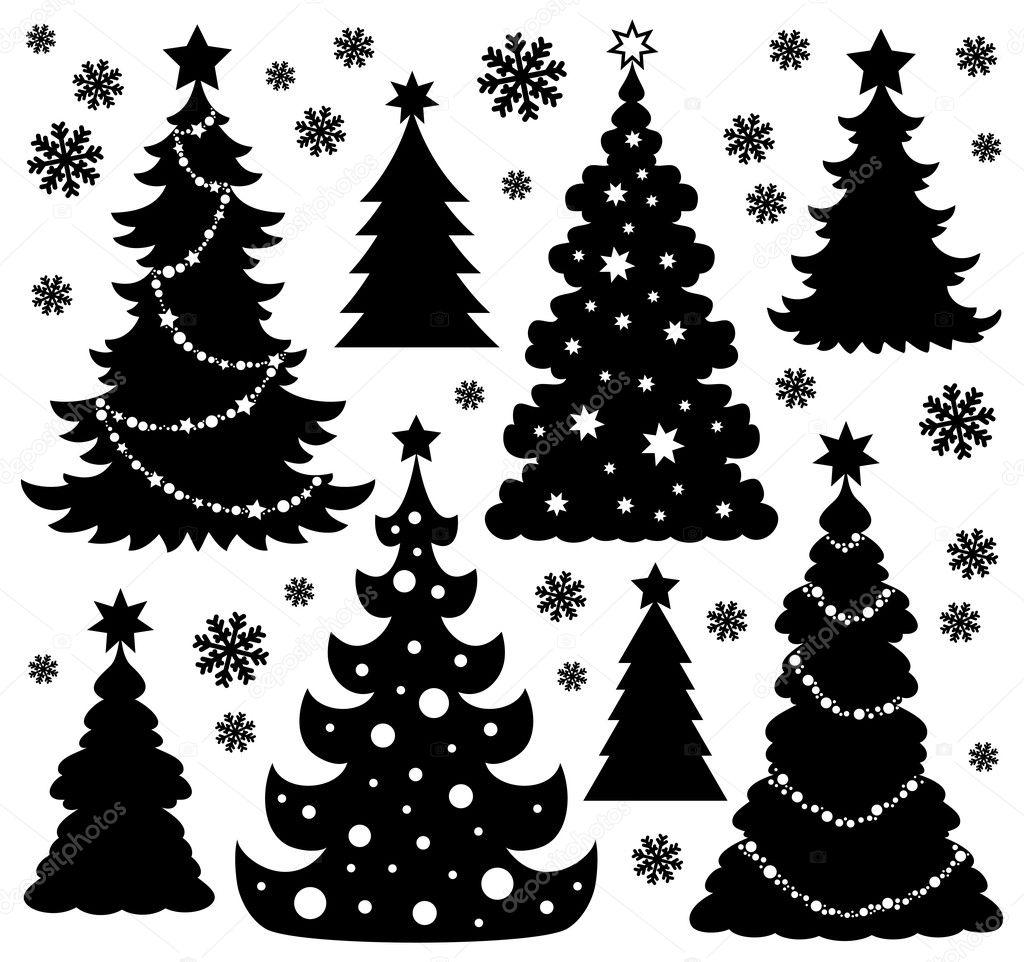 weihnachtsbaum silhouette thema 1 stockvektor clairev. Black Bedroom Furniture Sets. Home Design Ideas