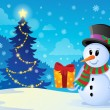 Christmas snowman theme image 1 — Stock Vector
