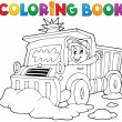 Coloring book snow plough — Stock Vector