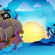Pirate ship near small island 2 — Stockvectorbeeld