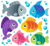 Fish theme collection 1 — Stock Vector