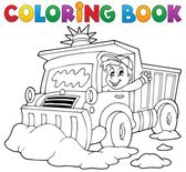 Coloring book snow plough — Stockvector