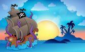 Pirate ship near small island 2 — Stock Vector