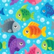 Fish theme seamless background 1 — Stock Vector