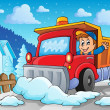 Snow plough theme image 2 — Stock Vector