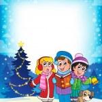 Christmas carol singers theme 4 — Vector de stock