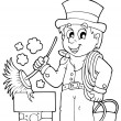 Coloring book chimney sweeper — Stock Vector