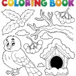 Coloring book winter bird theme 1 — Stock Vector