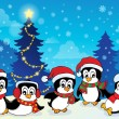 Stok Vektör: Winter theme with penguins 4