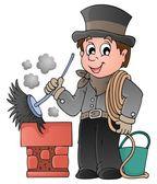 Happy chimney sweeper — Stock Vector