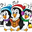 Christmas penguins theme image 1 — Stock Vector