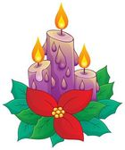 Christmas candle with flower — Stock Vector