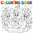 Coloring book cute penguins 4 — Stock Vector