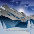 Stock Vector: Winter mountain landscape