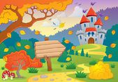 Autumn theme with castle 1 — Stock Vector