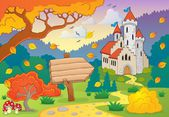 Autumn theme with castle 2 — Stock Vector