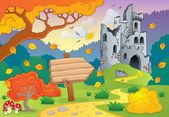 Autumn theme with castle ruins 2 — Stock Vector