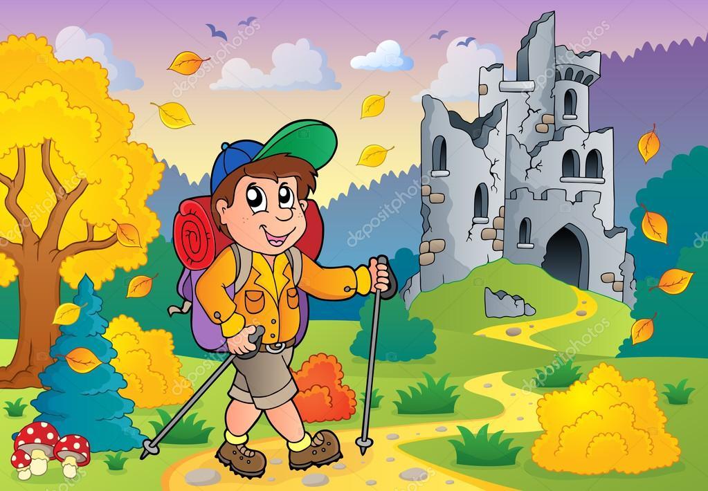 走近城堡废墟的徒步旅行者
