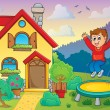 Stock Vector: Boy playing near house theme 1