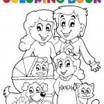 Coloring book family theme — Stock Vector #40209827